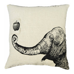 Kathy Kuo Home - Apple Elephant Hand Printed Linen Down Throw Pillow - Don't forget: An apple a day keeps the doctor away. Here's a prescription to add fun and handmade style to your sofa, bed or bench. The graphic image is hand-printed on 100 percent linen and filled with cushy down to help cure what ails you.