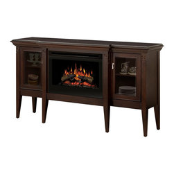 ClassicFlame - ClassicFlame Pasadena Infrared Electric Fireplace Entertainment Center - The Classic Flame Pasadena Oak Media Electric Fireplace features a backlit display, realistic flame effect, hand-carved logs and ember bed to create the ambiance of a real fire. The 28MM468-O107 Package includes: Premium Oak Media Electric Fireplace Mantel, 28 inch Infrared Firebox Insert with a clean glass front and blue flame effect & Multi-Function Remote Control.