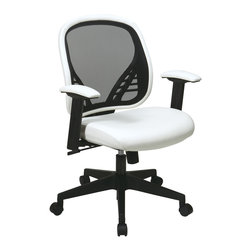 Office Star - Office Star DuraGrid Back and White Vinyl Seat Managers Chair - DuraGrid Back and White Vinyl Seat Managers Chair with Adjustable padded arms and angled nylon base.  Pneumatic Seat Height adjustment, pivot point tilt, 360? swivel, 2 to 1 Synchro Tilt with tilt tension and lock What's included: Office Chair (1).