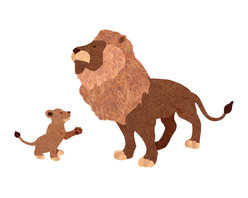 My Wonderful Walls - Lion and Cub Wall Sticker Set - - Lion and lion cub sticker set