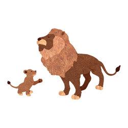 My Wonderful Walls - Lion and Cub Wall Sticker Set - - Lion and lion cub sticker set