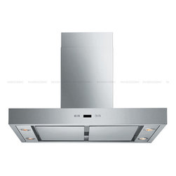 "Spagna Vetro - SPAGNA VETRO 30; SV198Z-SP36 Wall-Mounted Stainless Steel Range Hood - Mounting version - Wall Mounted 860 CFM single centrifugal blower Stainless Steel Panel (Filterless Perimeter Suction) Six-speed electronic, touch sensitive control panel with LCD display Delayed power auto shut off (programmable 1-15 minutes) 30 hours cleaning reminder Four dimmable 35W halogen lights (GU-10 type light bulbs) Heavy duty 19 gauge stainless steel (brushed finish) Telescopic decorative chimney of variable dimension 6"" round duct vent exhaust and back draft damper Venting Mode: Duct For residential use only, one-year limited factory warranty"