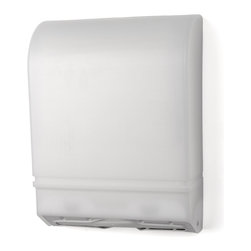 """Palmer Fixture - Multifold/C-Fold Towel Dispenser, White - The Multi-fold/C-fold dispenser is constructed with heavy gauge steel back. The impact resistant plastic cover in White Translucent allows view of the paper supply. Unit holds any universal multi-fold or c-fold towels. No adjustments are needed for either multi-fold or c-fold towels. Provides easy towel removal and reduces multiple dispensing. User touches nothing but the towel they use. Heavy-duty double latch lock helps prevent theft.; Dimensions: 11 5/16"""" L x 5 """" x 15 1/4"""" H; Includes 1 key, type 1; Includes hardware pack"""