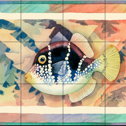 The Tile Mural Store (USA) - Tile Mural - Valentini Mimic Antique - Kitchen Backsplash Ideas - This beautiful artwork by Paul Brent has been digitally reproduced for tiles and depicts a colorful fish.  This tile mural featuring fish and sea life would be perfect as a part of your kitchen backsplash tile project or your tub and shower surround bathroom tile project. Images of tropical fish on tile make a fantastic kitchen backsplash idea and are great to use in the bathroom too for your shower tile project. Consider a tile mural of sealife and fish for any room in your home where you want to add wall tile with interest.