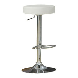 Monarch Specialties - Monarch Specialties 2368 Hydraulic Lift Barstool in White and Chrome (Set of 2) - Add a contemporary flair with this 2 piece hydraulic lift bar stool set. Its unique exquisitely cushioned white seat is comfortable and its sturdy chrome metal round base accentuate this piece. The convenient foot rest and 360 degree swivel bring a rich sensation and a high range elegance to all of your decor.