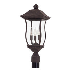 """Designers Fountain - Designers Fountain 2726-AG 3 Light 9"""" Cast Aluminum Post Wall Lantern from the C - Features:"""