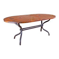"Woodland Oval Dining Table - Give your dining room a dose of rustic beauty with the Woodland Oval Dining Table. This artisan-crafted dining table is made from high-quality recycled copper and hand-forged iron and features a hand-hammered and fired tabletop made using a hand-applied  Old World technique for variations on each piece. A wax coating adds protection. The iron base is crafted with the look of curved branches in a black finish. Measures 72""W x 44""D x 30 1/2""H. ~ Ships from the manufacturer. Allow 4 to 6 weeks."