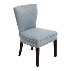 Great Deal Furniture - George Ocean Blue Fabric Chair - The George Blue Fabric Dining Chair provides elegant dining seating for family and friends. The George works well with any dining table or can be useful as adding seating to any room of the house. The blue fabric is smooth to the touch while the padded seat and back provide comfortable seating.
