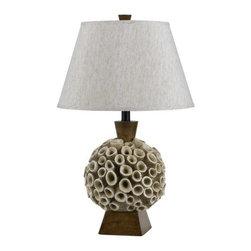 Cal Lighting - Cal Lighting BO-2483TB Mermaid 1 Light Pedestal Base Table Lamp - Features: