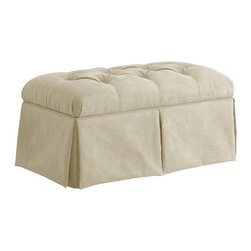 "Skyline Furniture - Tufted Skirted Bedroom Storage Ottoman - This beautiful handmade Tufted Skirted Storage Bench in Chocolate is perfect when placed at the end of a bed or in any living area that needs additional stylish seating. It includes plenty of storage space to help you stay organized and will be a perfect fit in any decor! Features: -Pine wood frame.-Hardwood legs.-100% Microdenier polyester upholstery.-Polyurethane foam.-Spot clean only.-STo prevent overall soil, frequent vacuuming or light brushing to remove dust and grime is recommended. Spot clean using a mild water-free solvent or dry cleaning product. Clean only in a well ventilated room and avoid any product containing carbon tetrachloride which is highly toxic. Pretest small area before proceeding. Cleaning by a professional furniture cleaning service only is recommended..-Distressed: No.-Collection: Tufted.-Country of Manufacture: United States.Dimensions: -Storage area: 12'' H x 34'' W x 16'' D.-Overall Product Weight: 40 lbs.-Overall Height - Top to Bottom: 19"".-Overall Width - Side to Side: 37"".-Overall Depth - Front to Back: 19""."