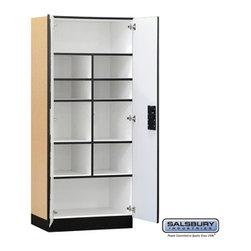 Salsbury Industries - Designer Wood Storage Cabinet - Standard - 76 Inches High - 18 Inches Deep - Designer Wood Storage Cabinet - Standard - 76 Inches High - 18 Inches Deep - Maple