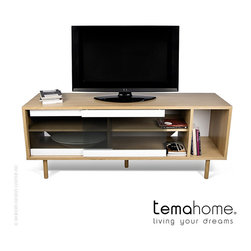 Temahome Dann Sideboard with Glass Doors Walnut/Pure White/Glass/Walnut - Temahome Dann Sideboard with Glass Doors