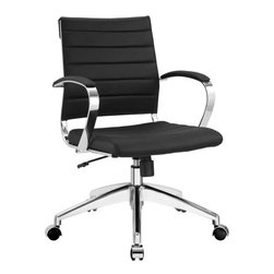 Modway - Jive Mid Back Office Chair in Black - Steer the course and sail to an island called style. Jive is the result of chair makers who decided to design a chair that just works. Functionally, it is a pleasure to sit in as the durable ribbed vinyl back provides natural posture support. The seat cushion and arms are padded, while the form of the armrests were intended to maximize a 90 degree wrist angling for typing. Jive's chrome-plated aluminum base is fitted with five dual-wheel casters, while a tension knob and tilt lock allow for easy back position adjustments. This is a chair made for the modern office, and a welcome embodiment of the spirit of progress and determination.