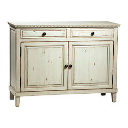 Soren Grey Sideboard, Distressed Grey - The Soren gray sideboard is a wonderful addition to the dining room. Perfect for storing serving pieces and linens, this sideboard features two drawers and two doors with a removable shelf for ultimate storage versatility. Built from reclaimed pine with an antiqued gray paint finish, this sideboard has light distressing for rustic charm. Top it off with an oversized family photo or a vase of freshly cut flowers for a delightful look in your dining room.