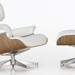 Ariel - Eames Style Lounge Chair With Ottoman In White Top Grain Leather - The ultimate lounge chair, Eames Style Lounge Chair With Ottoman is probably the most famous furniture in American history. From the living room to the office, this elegant lounge chair will be the centerpiece of practically anywhere in your home. Some of the chair's distinctive features include 100% top grain genuine Aniline leather upholstery, elegantly molded 7-layer plywood frame with Walnut veneer, and beautiful matching ottoman. Available in white or black leather.
