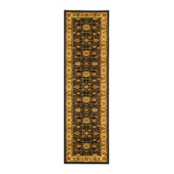 Safavieh - Lyndhurst Collection Majestic Black/ Ivory Runner (2'3 x 6') - This rich, majestic black and ivory floor runner brings traditional Persian and European looks to your home decor. The area rug also features eye-catching green, red, rust, and beige panel colors, and the enhanced polyproplyene material keeps dirt out.