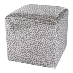Metallic Leopard Ottoman - Oh boy — metallic and leopard print together! This is a useful and glam cube ottoman. I die!