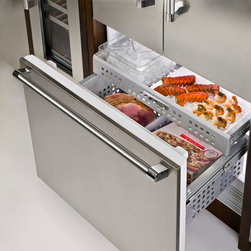 Thermador Refrigeration 36-inch French door refrigerator - Courtesy of Thermador, this image shows the freezer of the 36-inch French door refrigerator.  Lobster tails are sold separately.