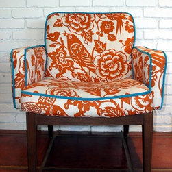 Jennifer Ashton, Allied ASID - Mid century chair recovered in Duralee Bird Fabric with pop piping and contrast back. Upholstery by Ande