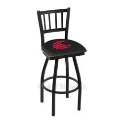 Holland Bar Stool - Holland Bar Stool L018 - Black Wrinkle Washington State Swivel Bar Stool - L018 - Black Wrinkle Washington State Swivel Bar Stool w/ Jailhouse Style Back belongs to College Collection by Holland Bar Stool Made for the ultimate sports fan, impress your buddies with this knockout from Holland Bar Stool. This contemporary L018 Washington State stool carries a defined Jailhouse back that doesn't just add comfort, but sophistication. Holland Bar Stool uses a detailed screen print process that applies specially formulated epoxy-vinyl ink in numerous stages to produce a sharp, crisp, clear image of your desired logo. You can't find a higher quality logo stool on the market. The plating grade steel used to build the frame is commercial quality, so it will withstand the abuse of the rowdiest of friends for years to come. The structure is powder-coated black wrinkle to ensure a rich, sleek, long lasting finish. Construction of this framework is built tough, utilizing solid welds. If you're going to finish your bar or game room, do it right- with a Holland Bar Stool. Barstool (1)
