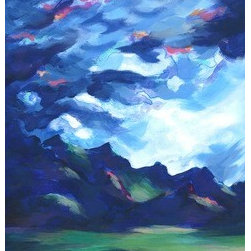 Cotopaxi Storm (Original) by Diana Willard - This piece is based on a photograph I took while hiking in Ecuador, in the beautiful Cotopaxi National Park. While exploring, a storm rolled in, creating the most dramatic clouds and lighting, which just captivated me.