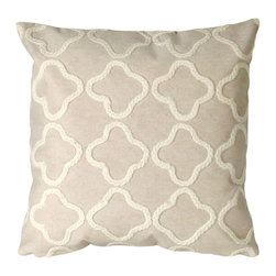 "Trans-Ocean - Crochet Tile Cream Pillow - 20"" SQ - The highly detailed painterly effect is achieved by Liora Mannes patented Lamontage process which combines hand crafted art with cutting edge technology.These pillows are made with 100% polyester microfiber for an extra soft hand, and a 100% Polyester Insert.Liora Manne's pillows are suitable for Indoors or Outdoors, are antimicrobial, have a removable cover with a zipper closure for easy-care, and are handwashable."