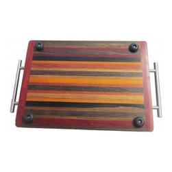 Exotic Chopping Blocks - Serving Tray - This stunning, highly functional, durable serving tray has a thick lip around the outside to keep all food on the tray. The handles on the side allow for easy gripping for any serving that needs to be done. It is finished like a normal cutting board, so it is food safe. The finish used is Good Stuff, which is a non-toxic, safe for food, butcher block finish. Woods included in this piece are Chokte Viga, Macassar Ebony, Bocate, Padouk, and Canary.
