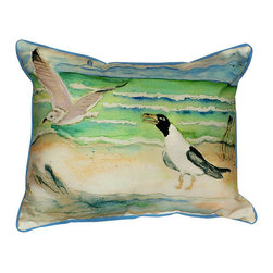 Betsy Drake - Betsy Drake Sea Gulls Pillow- Indoor/Outdoor - Sea Gulls Pillow- Large indoor/outdoor pillow. These versatile pillows are equal at enhancing your homes seaside decor and adding coastal charm to an outdoor setting arrangment. They feature printed outdoor, fade resistant fabric for years of wear and enjoyment. Solid back, polyfill. Proudly made in the USA.