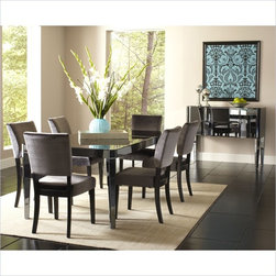 Standard Furniture Parisian 7 Piece Dining Set in Gloss Black - Standard Furniture Parisian Dining Table with Leaf in Gloss Black