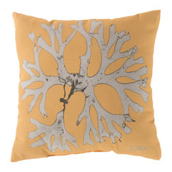 """Surya - Coral Square Decorative Pillow RG-055 - 20"""" x 20"""" - Enjoy a tranquil reminder of the beach in your space with this cool coral pillow. Featuring a bold beige coral design splashed pristinely against an exquisite yellow backdrop, this piece is sure to spice up your space. This pillow contains a Virgin Poly Styrene Bead fill providing a reliable and affordable solution to updating your indoor or outdoor decor."""