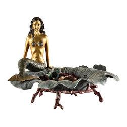 "SPI - Aluminum Mermaid on Fluted Verdi Dish - -Size: 11"" H x 16.5"" W x 13.5"" D"