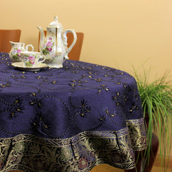 "Unique & DecorativeTablecloths - Unique ""King Blue"" Hand Embroidered 53"" Round tablecloth. Indian made. Dupion Silk fabric. Transform your table tops into a display of art. Dark Blue"