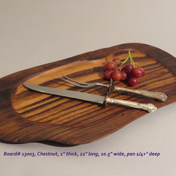 Hand-Carved Chestnut Serving Board $80 SOLD - Functional & Beautiful. These pieces strike a balance between Beauty & Utility, Old & New, Rustic & Refined. Food-bearing surface is smooth, solid & practical. Clean with warm soapy water. FREE 4oz container of 100% FoodSafe BeesWax & Mineral Oil Conditioner with each purchase.