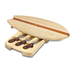 Picnic Time - Picnic Time Surfboard Cheese Cutting Board Set with Tools Multicolor - 903-00-50 - Shop for Cheese Boards and Servers from Hayneedle.com! About Picnic TimeEven the name makes you smile! Since 1982 Picnic Time's mission has been to sell traditional European-style picnic baskets in America that everyone could afford. The company has continued to develop innovative and practical outdoor leisure products that inspire relaxation with friends and family. With a product line that continues to develop far beyond the traditional picnic basket (though theirs are the finest picnic baskets around!) Picnic Time will take you to the beach the country the mountains ... or best of all your own backyard.