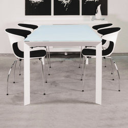 """Star International - Theodore Dining Table - Features: -Essex collection. -Crystal white acid washed glass finish. -Matte white powder coated metal frame. -Contemporary design. -1 Year manufacturer warranty. -Dimensions: 33.3"""" Height x 78.75"""" Width x 35.5"""" Depth."""
