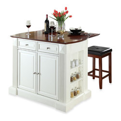 Crosley Drop-Leaf Breakfast Bar Top Kitchen Island with Cherry Square Seat Stool - If you don't have the luxury of already having a built-in island or breakfast bar, consider installing your own. Breakfast bars are perfect for enjoying a quick meal in the morning without having to dirty the dining table.