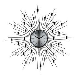 "LexMod - Starburst Wall Clock in Silver Black - Starburst Wall Clock in Silver Black - Distinct spheres of influence form a constellation of meaning in this retro modern work. Charged metal silver-toned rays meet planet-like objects on the pathway toward outer worlds. Full of expression and vitality, the Starburst clock is a distinct piece for any emblematic home. Set Includes: One - Silver Starburst Wall Clock (Retro Modern) Quartz Analog, Uses AA battery (sold separately) Overall Product Dimensions: 2""L x 20""W x 20""H - Mid Century Modern Furniture."