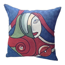 """Seductive"" Contemporary Pillow - Turn your couch into a work of art with this statement throw pillow embroidered with a gorgeous reproduction of a modern master painting. Those bold colors and shapes will complement almost any piece of furniture, so let your own modern artist out and create some unique combinations."