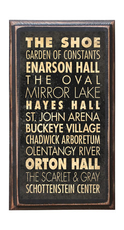 """CrestField - Ohio State University Points of Interest Decorative Vintage Style Wall Plaque - This vintage style wall plaque is hand made to commemorate the wonderful Ohio State University. The pine board has a quarter round routed edge and is sized at 7.25"""" x 13"""" x .75"""". The surface is finished with my """"flatter than satin"""" poly finish with a saw tooth hanger on the back. Would look great in any decoration project, home or office."""