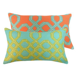 "Chloe and Olive - Lilly Pulitzer Orange Turquoise Geometric Throw Pillow, 12x20"" Pillow - With luxurious textures and a palette of juicy colors, fashion icon Lilly Pulitzer brings us an upscale collection of fabrics for the home decor. Chloe & Olive combines Lilly Pulitzer's signature look of mixing and matching complementing fabrics to create a luxurious designer decorative pillow."
