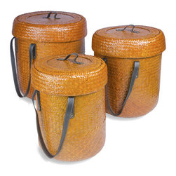 Foreign Affairs Home Decor - Baskets JERUK, Set of 3, with lid & handles, orange - Beautiful Rattan Basket Set with fitting lids and strong handles. Can be nestled into each other for storage. Glossy Orange, Set of 3 (L, M, S)