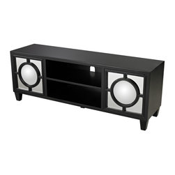Sterling Industries - Sterling Industries Gloss Black Media Console with Convex Mirror (136-004) - Sterling Industries Gloss Black Media Console with Convex Mirror (136-004)