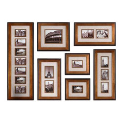 Uttermost Newark Hanging Photo Collage, S/7 - Heavily antiqued gold with black outer liner and ivory linen matting. This collection of frames features a heavily antiqued gold finish with a matte black outer edge. Ivory linen mats surround photos. May be hung horizontal or vertical. Holds photo sizes: 12-4x6, 1-8x10, 4-5x7