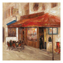 YOSEMITE HOME DECOR - Outdoor Dining I - This typical European bistro is anything but typical. This canvas could be a scene from a romantic movie or real life vacation. This bistro painting features a brick colored awning with a large window and a couple of outdoor dinning tables complete with patrons. The rich browns and reds in this painting will give life to your living space.