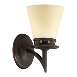 Lite Source - Wall Lamp - Aged Bronze/Glass Shade - Wall Lamp - Aged Bronze/Glass Shade
