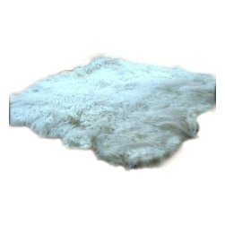 Fur Accents - Thick and Shaggy Faux Fur Sheepskin Accent Rug / Random Shape, 5x8 - A Wildly Fun Accent Rug. Thick and Shaggy White Faux Animal Pelt Area Carpet. Random Shape Sheepskin Design. Made from 100% Animal Free and Eco Friendly Fibers. Perfect for any room in the house. Fully lined with real Parchment Ultra Suede. Luxury, Quality and Unique Style for the discriminating designer and decorator. Add this one to the list of things you love...