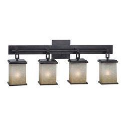 "Kenroy Home - Asian Themed 4 Light Bathroom Fixture from Plateau Collection from the Plateau C - Plateau 4 Light Bathroom FixtureFeatures Amber Marbleized GlassExtends: 6""4-100w Max Medium Base (Bulb(s) Not Included)"