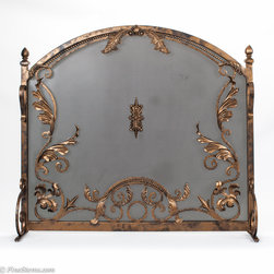 Custom Iron Timeless Fireplace Screen - Add a unique look to your fireplace with this handcrafted, solid antique gold iron fireplace screen.