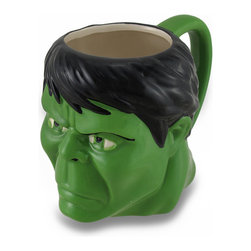 Zeckos - Marvel Comics Incredible Hulk Ceramic Coffee/Tea Mug - Incredible Hulk fans, raise your glass (or, mug) to one of the strongest and mightiest heroes of Earth with this awesome mug Have a drink with Bruce Banner while sipping your morning coffee, afternoon tea or hot chocolate on a snowy day, if only in your imagination This ceramic 4.5 inch high, 5.5 inch long, 3.75 inch wide (11 X 14 X 10 cm) officially licensed marvel comics character mug features a glossy finish in characteristic green, is recommended to hand wash only to keep it looking great, and suggested for those 12 years and older. It's perfect as a gift for the comic book superhero loving person in your life sure to be enjoyed