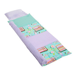 Janiebee Quilted Nap Mats - Princess and the Pea Quilted Nap Mat by Janiebee - Put your little Princess to sleep on this amazing nap mat, inspired by Heather Ross's Far Far Away fabrics. We've coordinated it with lavender dots, teal quatrefoil backing fabric and pale lavender blanket and pillowcase. Soothing, peaceful and luxurious and only from janiebee!